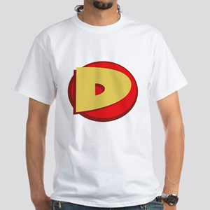 "SuperHero Letter ""D"" White T-Shirt"